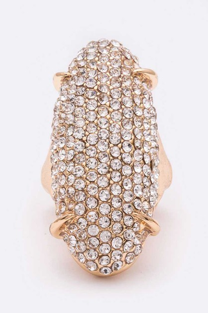 Oversize Crystal Stretch Ring - orangeshine.com