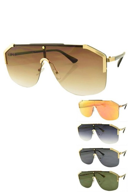 Oversize Shield Inspired Aviator Sun - orangeshine.com