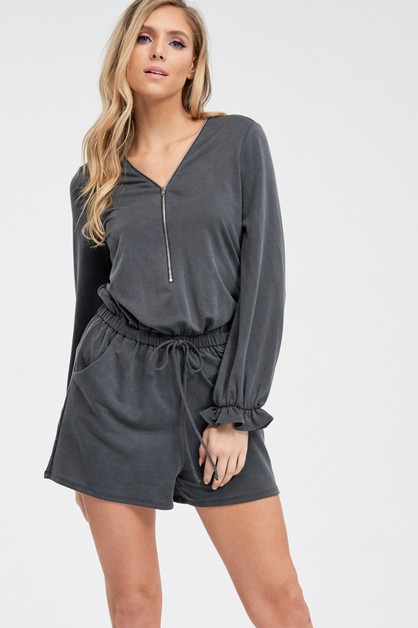 Long Sleeve Solid Romper With Waist  - orangeshine.com