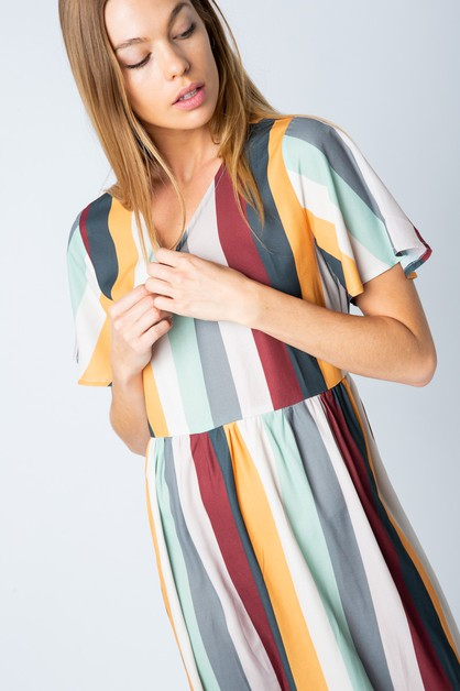 MULTI STRIPE MIDI DRESS - orangeshine.com