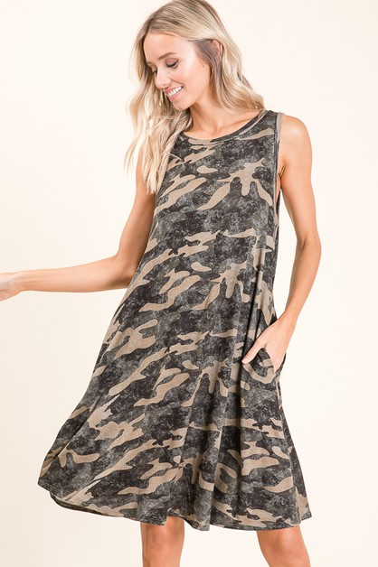 CASUAL CAMO PRINT SLEEVELESS DRESS - orangeshine.com