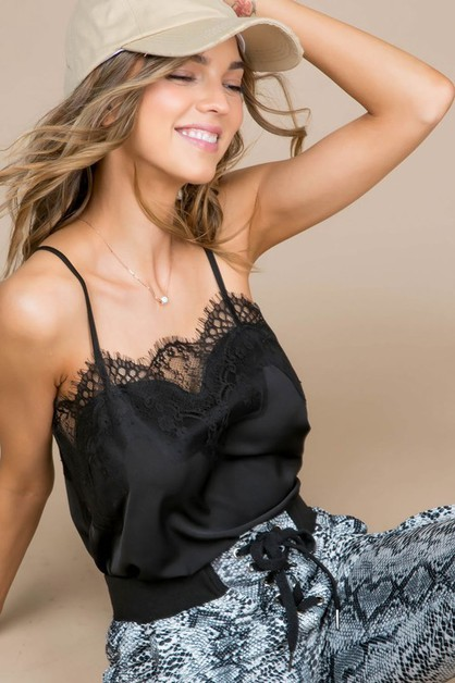 Lace Detail Side Slit Solid Cami - orangeshine.com