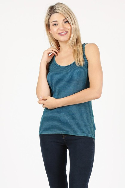 Waffle thermal mineral wash tank top - orangeshine.com