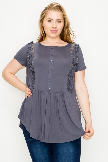 Plus Size Crochet Riffled Top - orangeshine.com