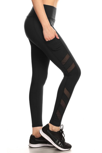 Mesh Sport Legging Yoga Pants Pocket - orangeshine.com