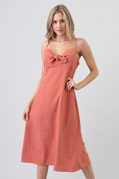 FRONT TIE BACK SMOKE LINEN DRESS - orangeshine.com