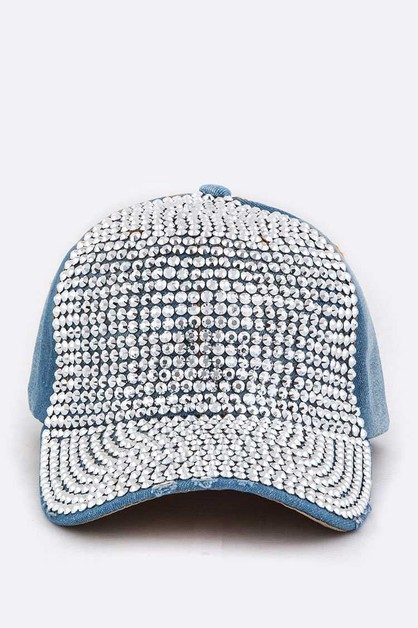 Crystal Distressed Denim Cap - orangeshine.com