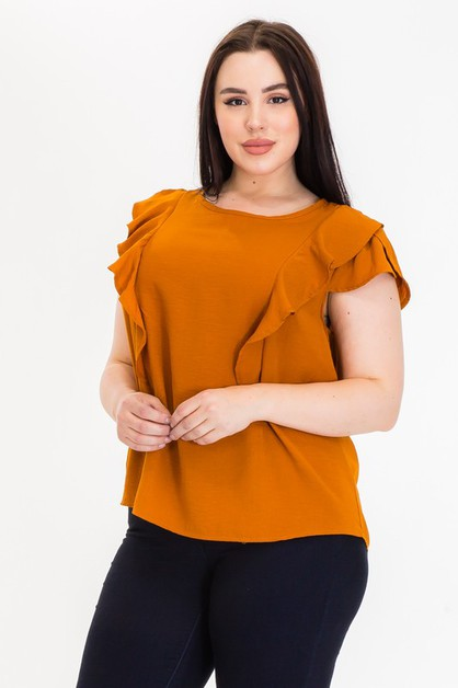 LINEN CAP-SLEEVE TOP - orangeshine.com