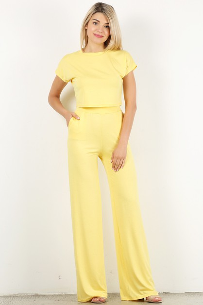 tow piece set crop top wide pants - orangeshine.com