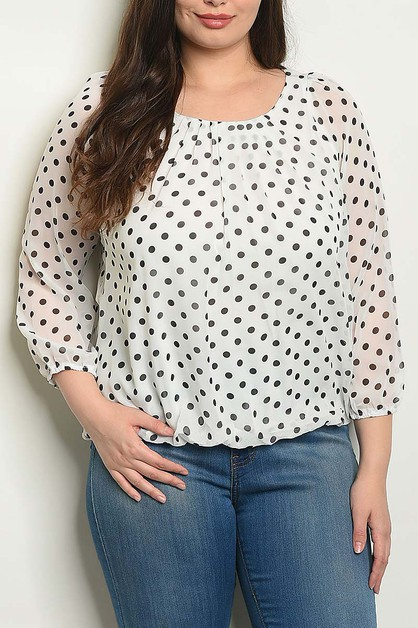 POLKA DOT PRINT PLUS SIZE BLOUSE - orangeshine.com