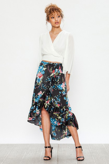 FLORAL RUFFLE TRIM HIGH LOW SKIRTS - orangeshine.com
