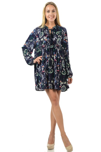 Rayon Floral Print Loose Fit Dress - orangeshine.com