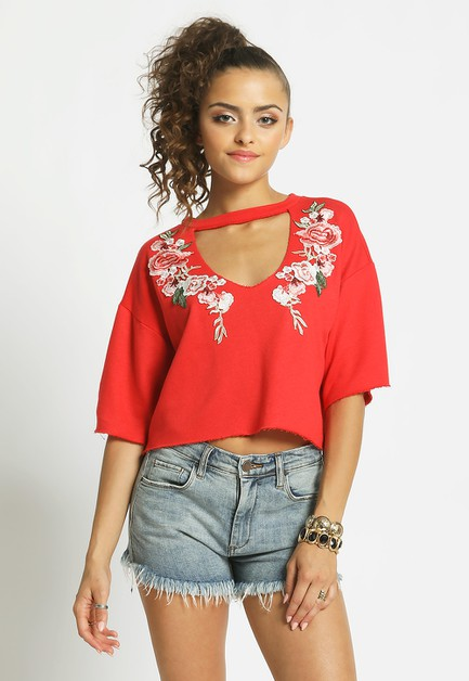 FLORAL FRENCH TERRY CHOKER TEE - orangeshine.com