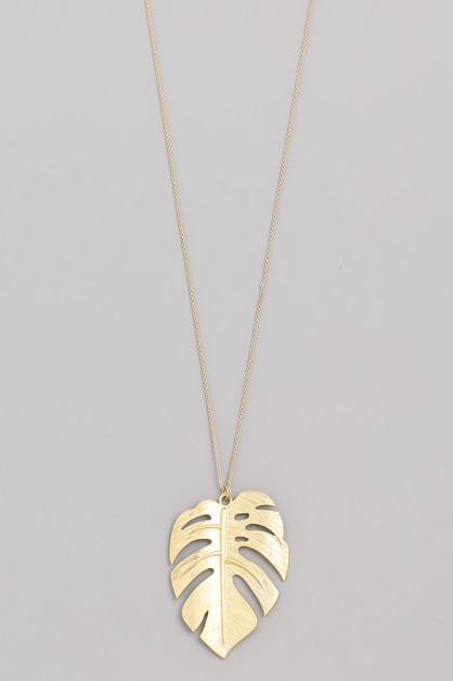 Metal Monstera Leaf Pendant Necklace - orangeshine.com