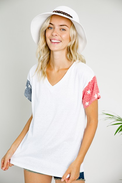 AMERICAN FLAG V NECK BOXY TOP - orangeshine.com