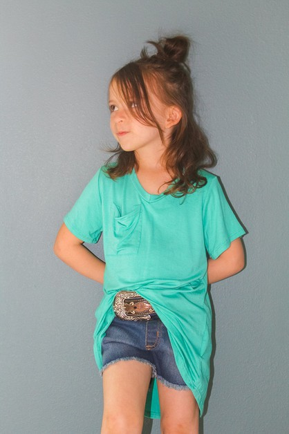 GIRLS MINT POCKET TEE - orangeshine.com
