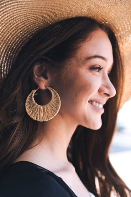 Bamboo Raffia Hoop Earrings - orangeshine.com
