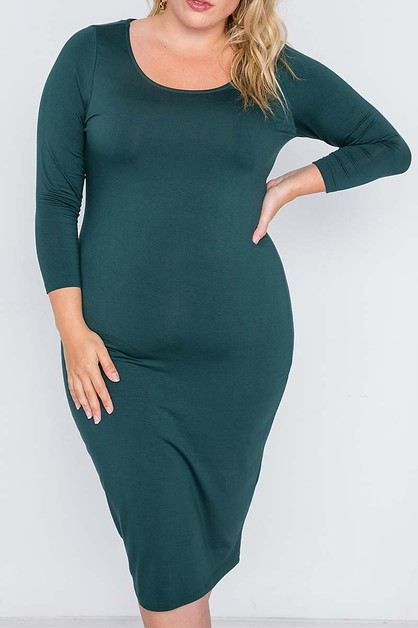 SLEEVE SOLID PLUS DRESS - orangeshine.com
