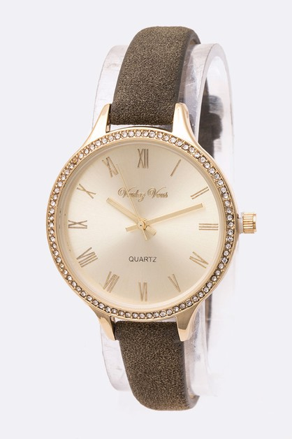 Crystal Bezel Suede Leather Band Fas - orangeshine.com