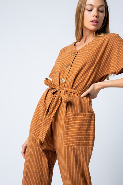 SHORT SLEEVE JUMPSUIT WITH FRONT BUT - orangeshine.com