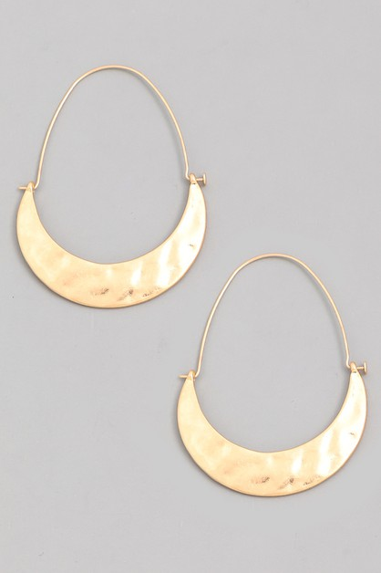Hammered Moon Hoop Drop Earrings - orangeshine.com