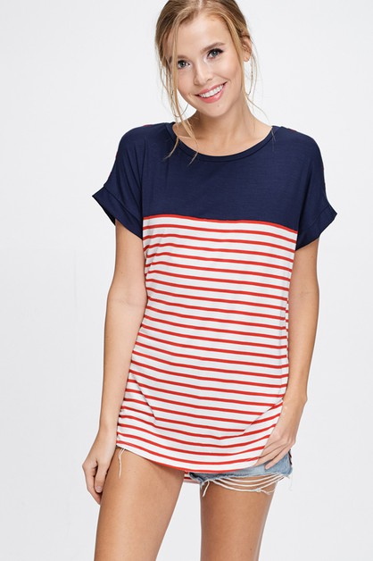 Striped Knit Two Tone Top - orangeshine.com