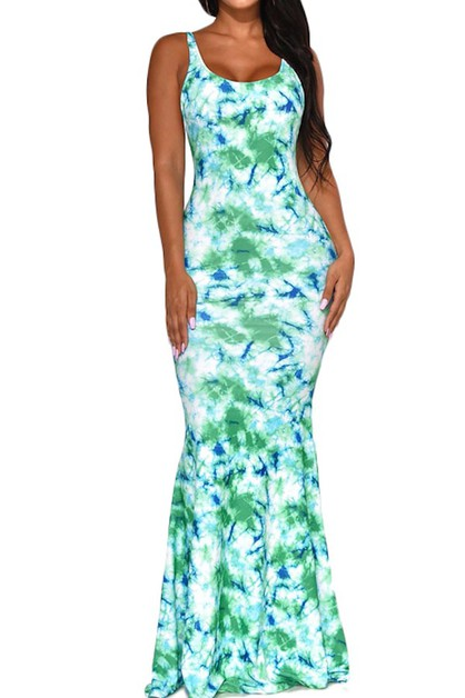 TIE DYE MERMAID MAXI DRESS SCOOP NEC - orangeshine.com