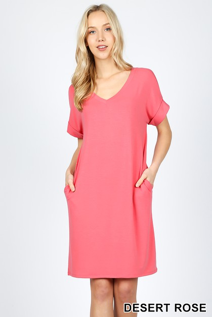 ROLLED SHORT SLEEVE V-NECK DRESS - orangeshine.com