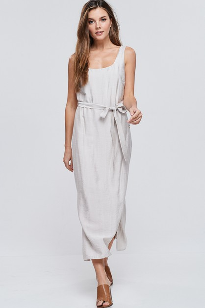 Side Slit Solid Woven Midi Dress - orangeshine.com