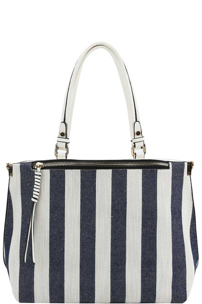 TRENDY STRIPED SATCHEL  - orangeshine.com