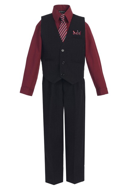 Boys Pinstripe 4 Piece Vest Set - orangeshine.com