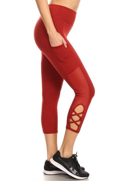 56465ce45274de Mesh Capri Leggings Yoga pants Cross - orangeshine.com