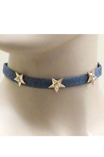 Stars on Denim Choker Necklace Set - orangeshine.com