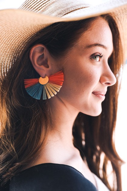 Colorful Raffia Fan Earrings - orangeshine.com