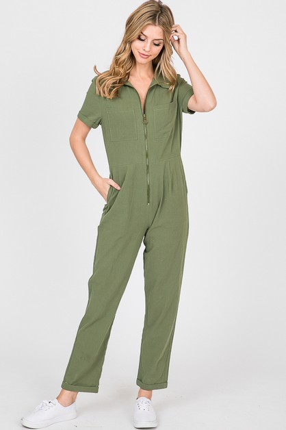 Jumpsuit with Front Zipper - orangeshine.com