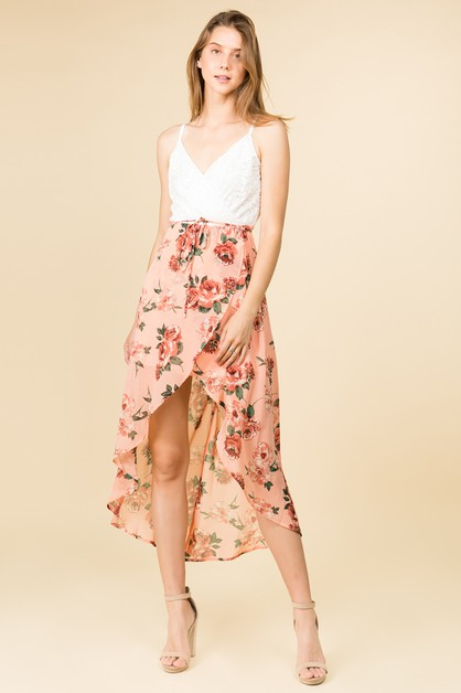 MAXI DRESS WITH PINK FLORAL SKIRT  - orangeshine.com