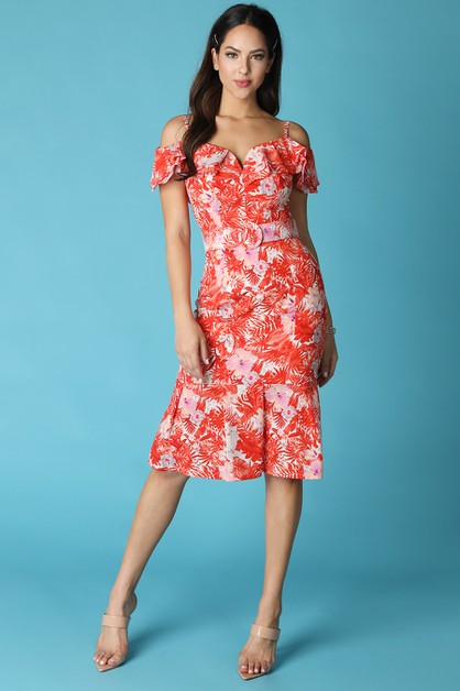 Ruffled Off Shoulder Tropical Print  - orangeshine.com