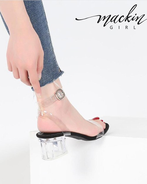 Clear stacked heels ankle strap sand - orangeshine.com