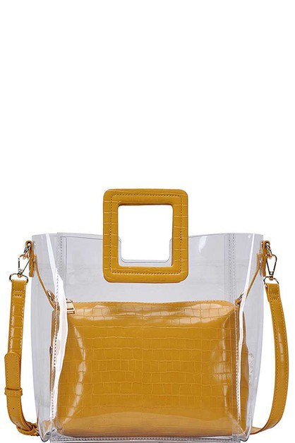 2IN1 TRANSPARENT TOTEBAG W STRAP  - orangeshine.com