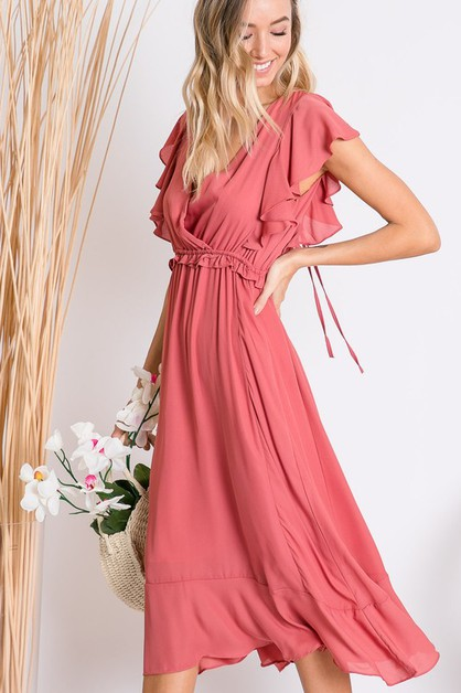 CASCADE DRAPED SOLID MIDI DRESS - orangeshine.com