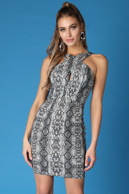 Crossed Front Snake Print Dress - orangeshine.com
