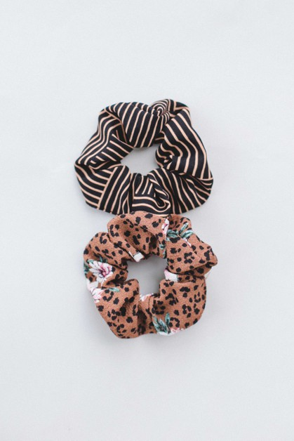 Brown Animal Print Scrunchie - orangeshine.com