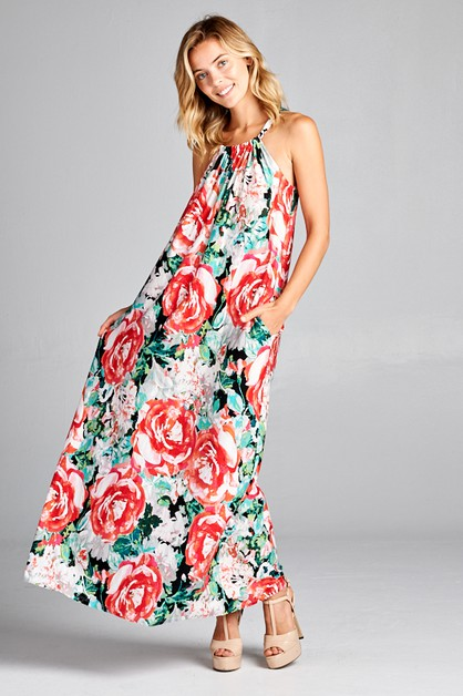 FLORAL HALTER SIDE POCKET MAXI DRESS - orangeshine.com