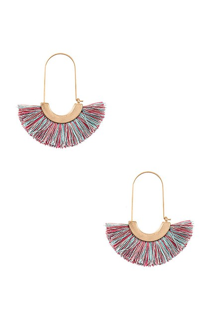 OBLONG TASSEL FAN EARRING  - orangeshine.com
