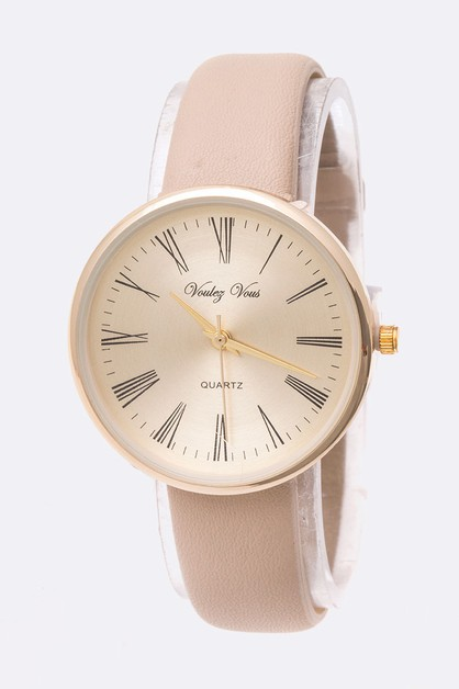 Curved Dial Roman Number Fashion Wat - orangeshine.com