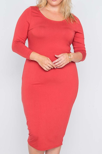 BODY CON PLUS SIZE SOLID DRESS - orangeshine.com