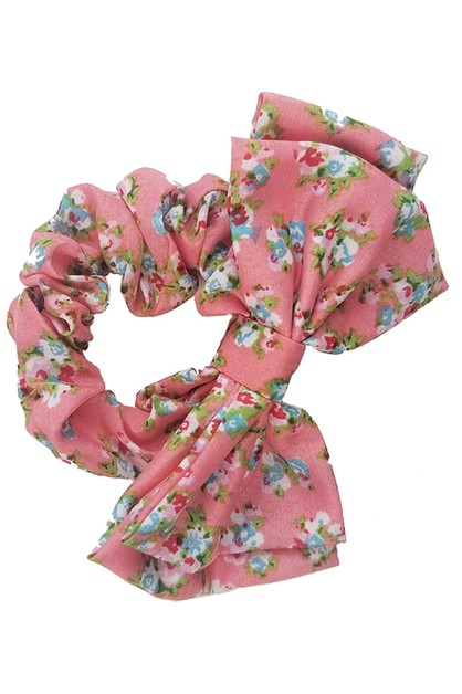 Flower Print Bow Hair Tie - orangeshine.com