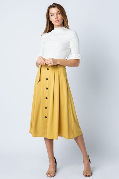 BUTTON DETAIL WAIST BELT MIDI SKIRT - orangeshine.com