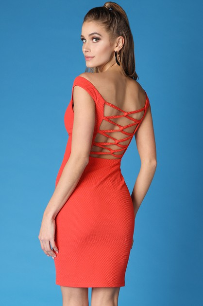 Looped Detail Back Off Shoulder Dres - orangeshine.com