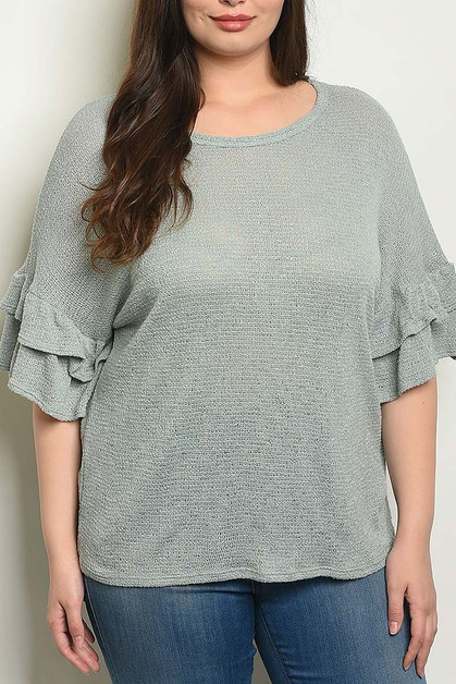 BELL SLEEVE PLUS SIZE KNIT BLOUSE TO - orangeshine.com